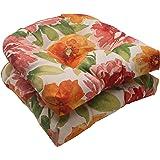 Pillow Perfect Indoor/Outdoor Primro Wicker Seat Cushion, Orange, Set of 2