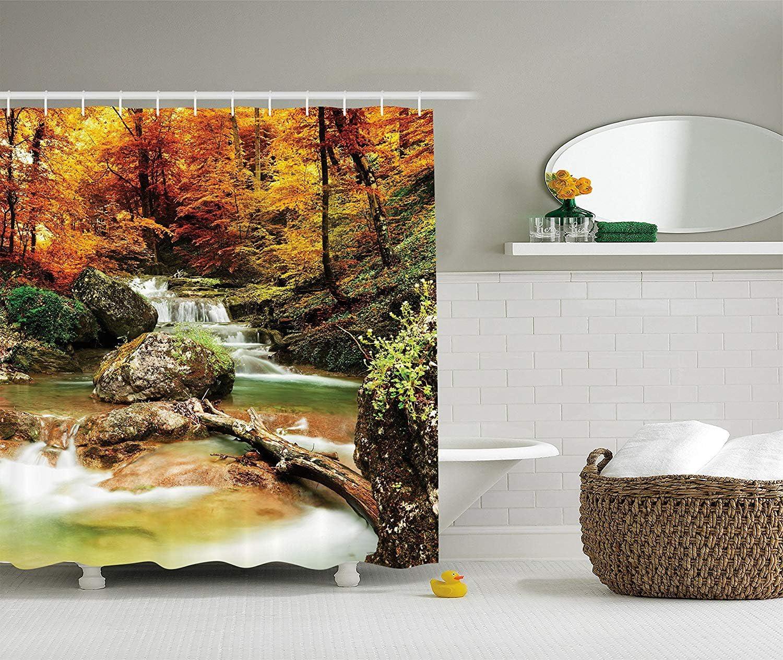 Ambesonne Waterfall Shower Curtain, Autumn Seasonal Woodland Creek Trees Foliage Rocks in Forest Image, Cloth Fabric Bathroom Decor Set with Hooks, 70