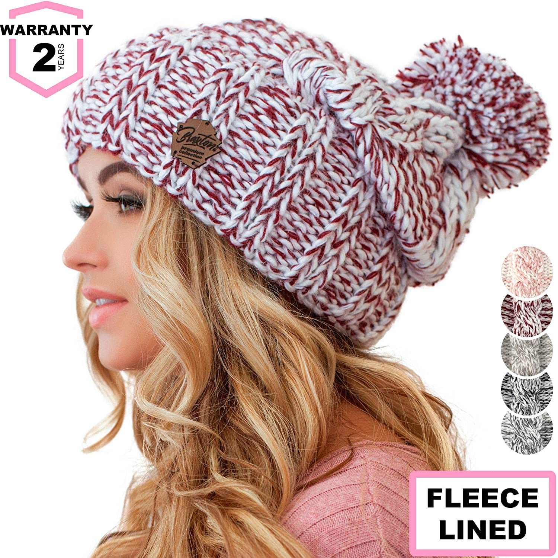 Braxton Women Pom Pom Beanie - Winter Warm Burgundy Fleece Skull Hat - Wool  Snow Slouchy Ski Cap at Amazon Women s Clothing store  1af5385bb8ad