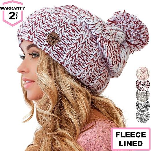Braxton Women Pom Pom Beanie - Winter Warm Burgundy Fleece Skull Hat - Wool  Snow Slouchy 4e7f830a2938