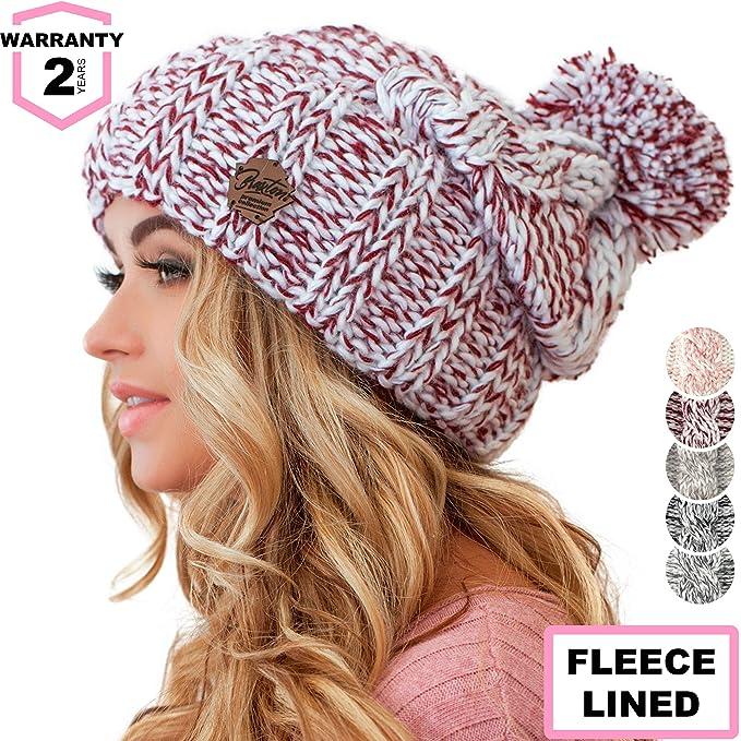 3d38fdce12f54 Braxton Women Pom Pom Beanie - Winter Warm Burgundy Fleece Skull Hat - Wool  Snow Slouchy