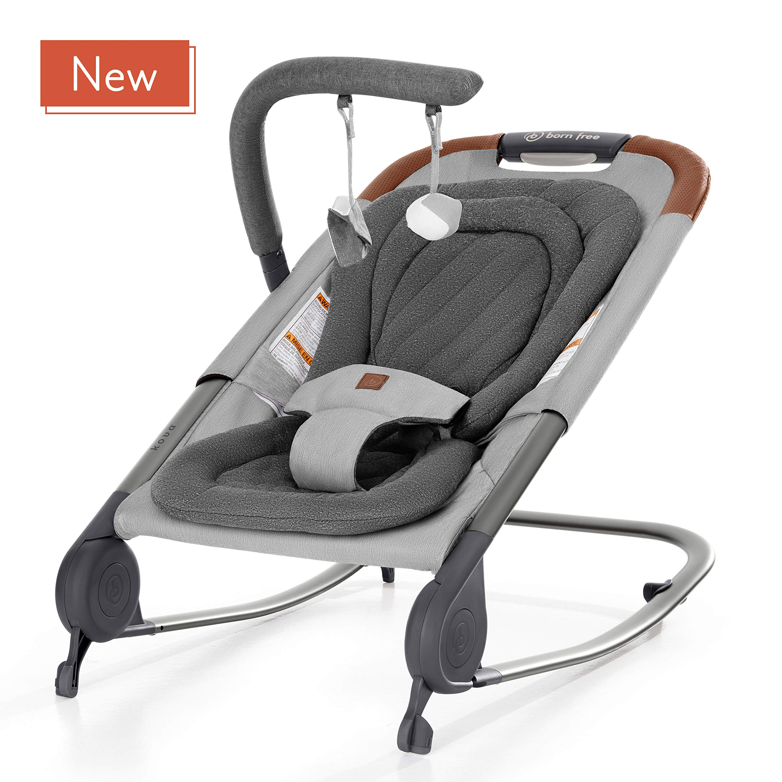 born free KOVA Baby Bouncer -  Baby Rocker with Two Modes of Use, Removable Toys and Compact Fold for Storage or Travel – Easy to Clean, Machine Washable Fabrics