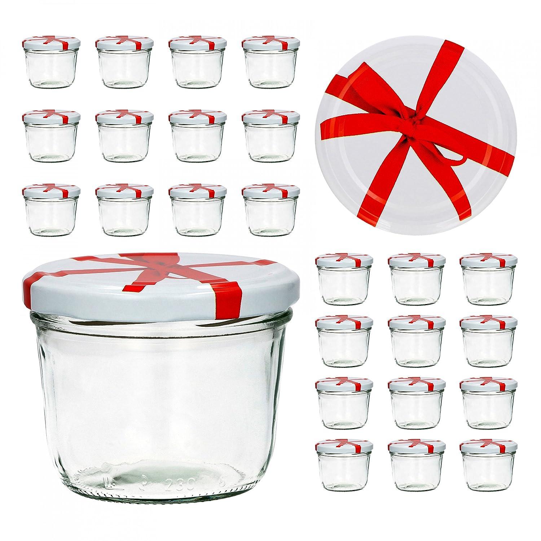 25er Set Sturzglas 230 ml To 82 weißer Deckel mit Schleifendekor ...