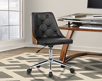 24834551dd Image Unavailable. Image not available for. Color  Armen Living  LCDIOFCHBLACK Diamond Office Chair in Black Faux Leather and Chrome Finish