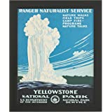 "Amazon Brand – Rivet Vintage U.S. Parks Old Faithful Geyser Print, Black Barnwood Frame, 19"" x 23"""