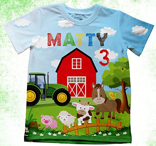 Amazon Personalized Farm T Shirt Birthday Tracker With Or Without Number Custom Farmer Shirts