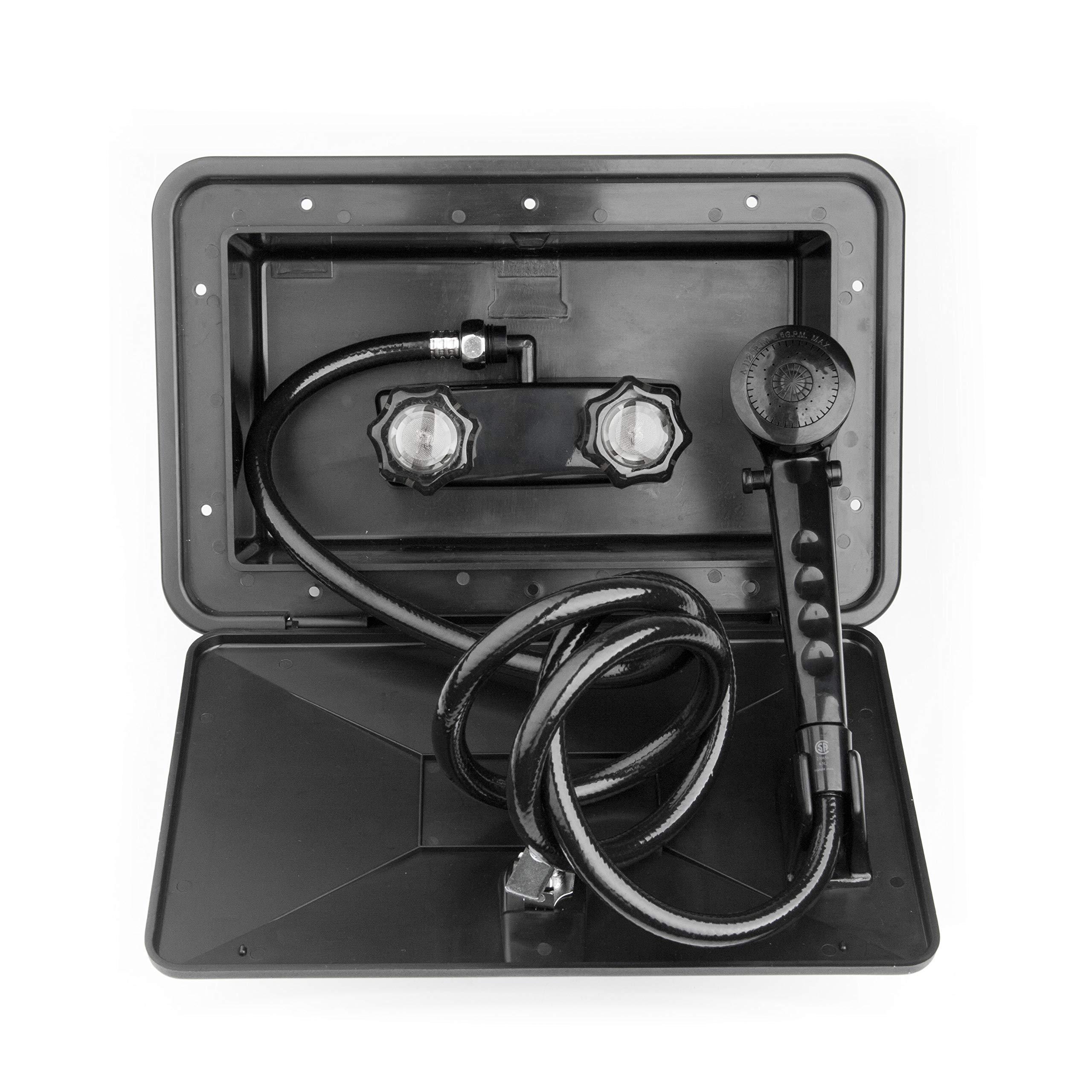 Dura Faucet DF-SA170-BK RV Exterior Shower Box Kit with Lock (Black) by Dura Faucet