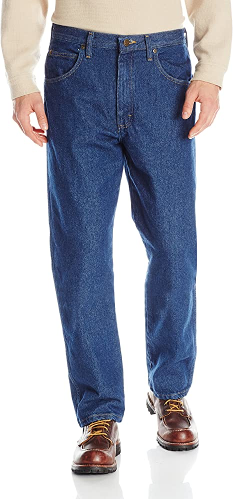 Fieer Mens Plus-Size Pocket Relaxed-Fit Washed Jean Trousers