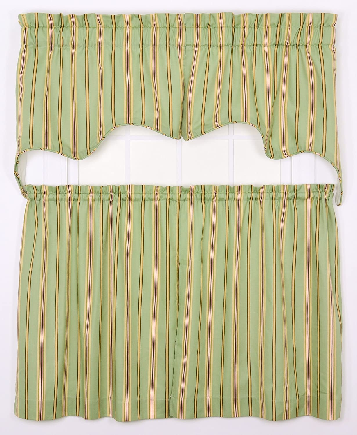 Ellis Curtain Warwick Medium Scale Stripe 70 by 28-Inch Empress Lined Swag Valance, Green, 2-Piece