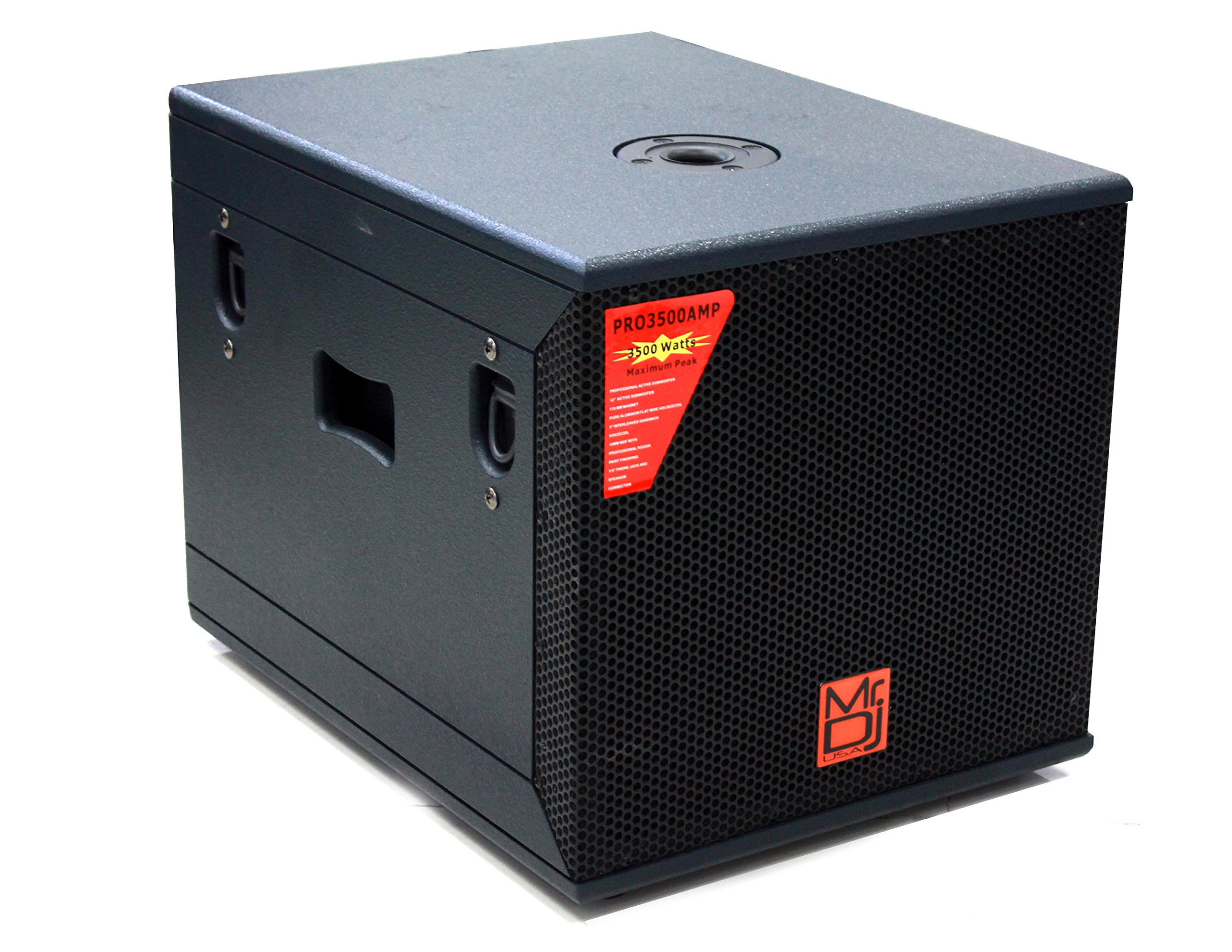 Mr. Dj PRO3500AMP 12'' 3500W Professional Series Active/Pre Amplified Subwoofer.