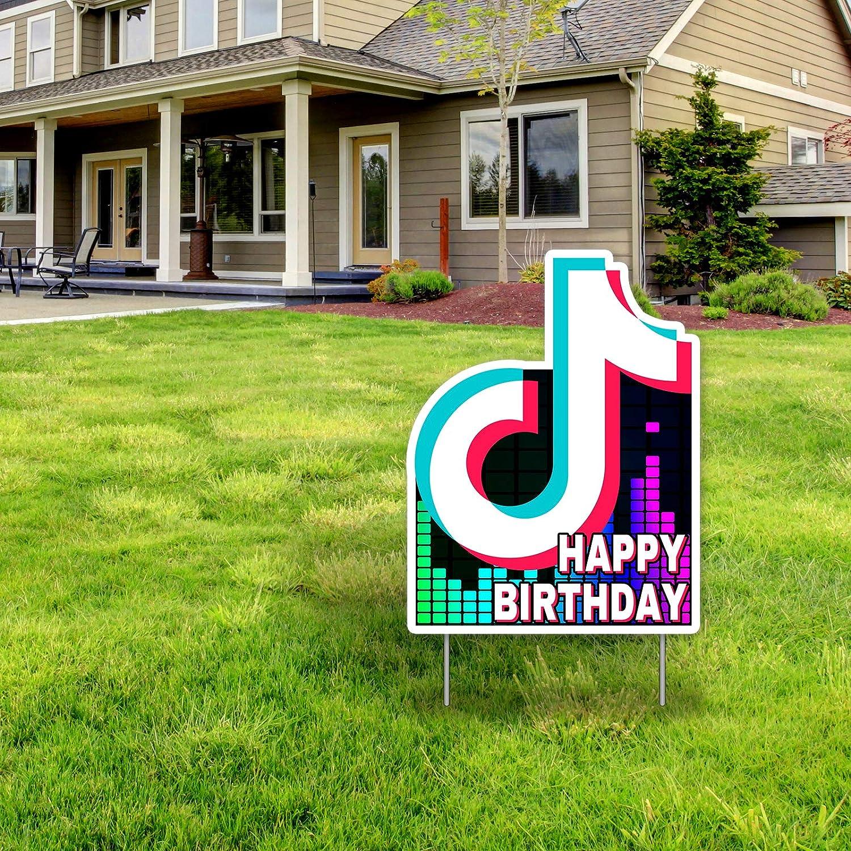 TIK Tok Happy Birthday Yard Sign,Social Media Music Themed Party Yard Sign, TIK Tok Birthday Party Decorations, TIK Tok Party Supplies