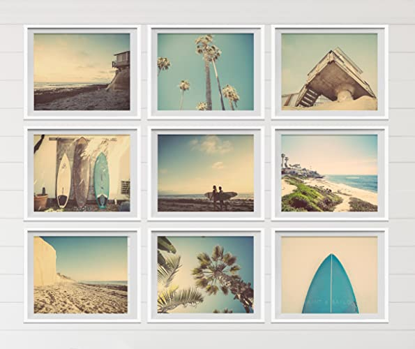 Surf Beach Themed Fine Art Photography Set Of 9 On Photo Paper Prints Photos Yellow Turquoise Sunset Retro Vintage Home Decor Wall