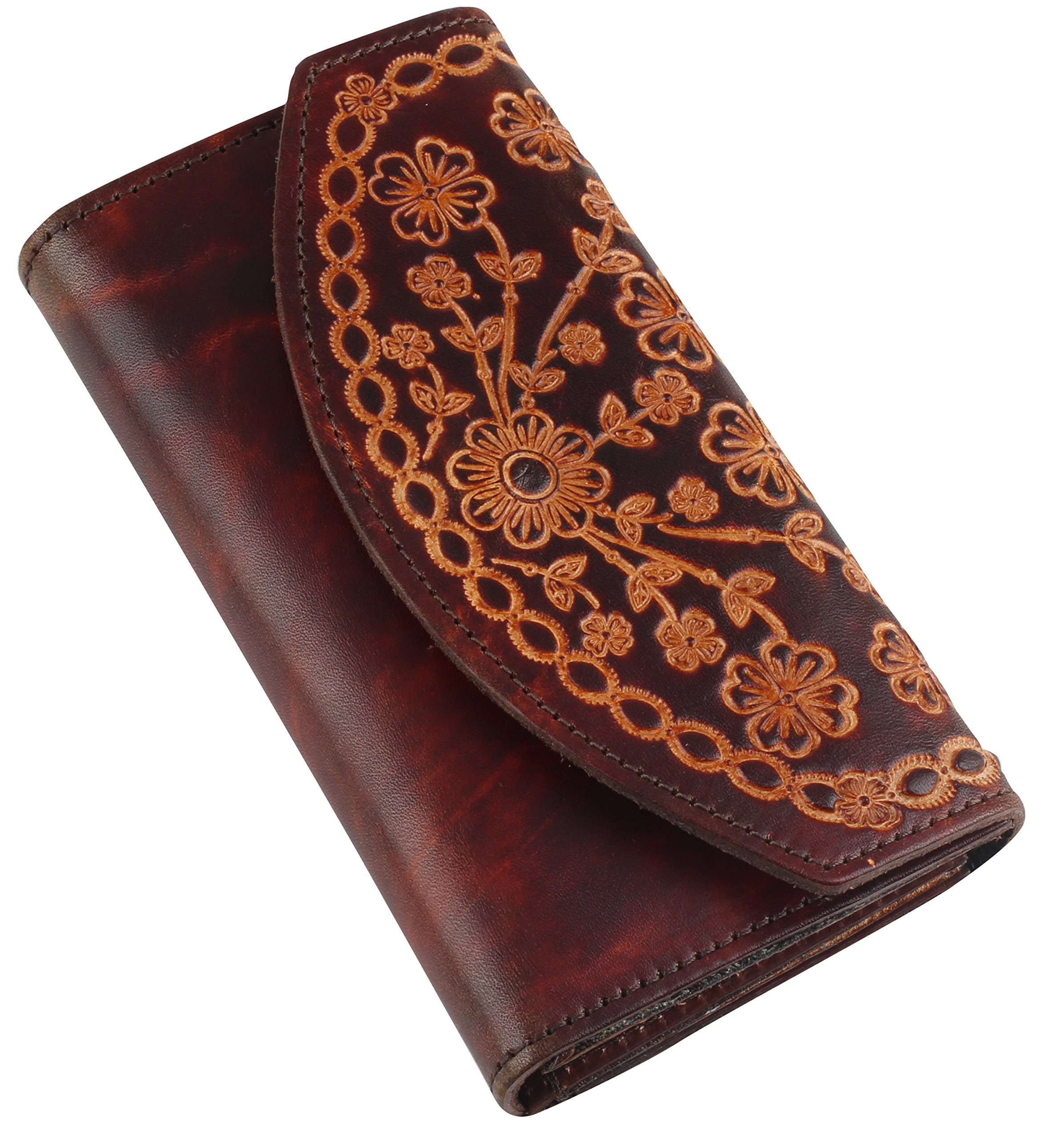 RFID Blocking Women's Bifold Vintage Antique Cowhide Top Grain Leather Wallet,19 Card Slots, Made In USA,Snap closure,LC700A-RFID-brown