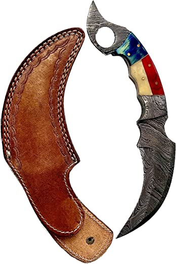 """Double A W Damascus Pocket Knife 