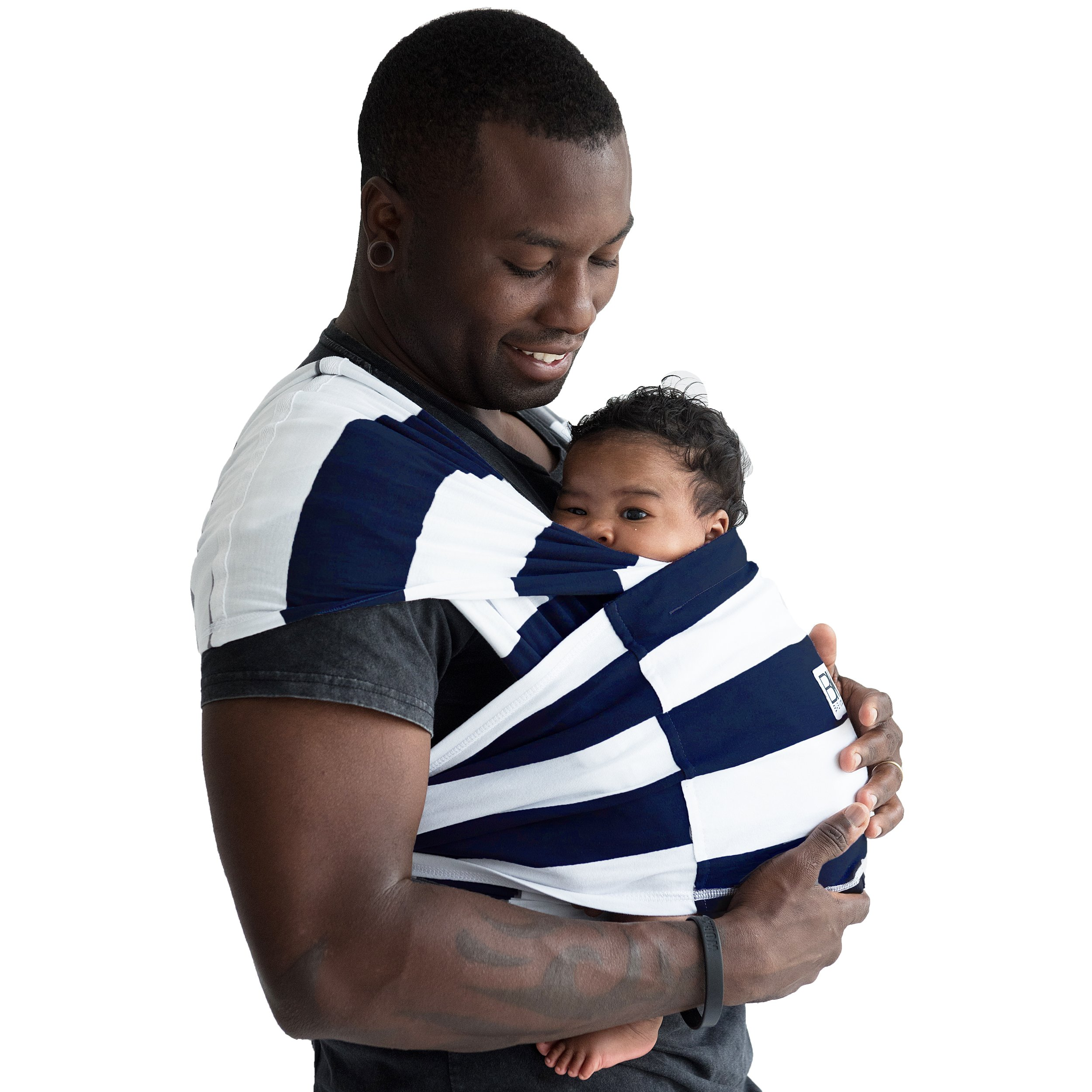 Baby K'tan Print Baby Wrap Carrier, Infant and Child Sling-Navy Stripe X-Small (W dress 2-4 / M jacket up to 36). Newborn up to 35 Pound Best for Babywearing. by Baby K'tan