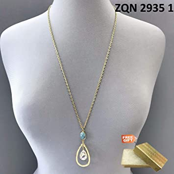 Gold Cotton Filled Gift Box for Free Gold Finish Clear Tear Drop Stone Pendent Necklace With Circle Dangle Earrings Set For Women