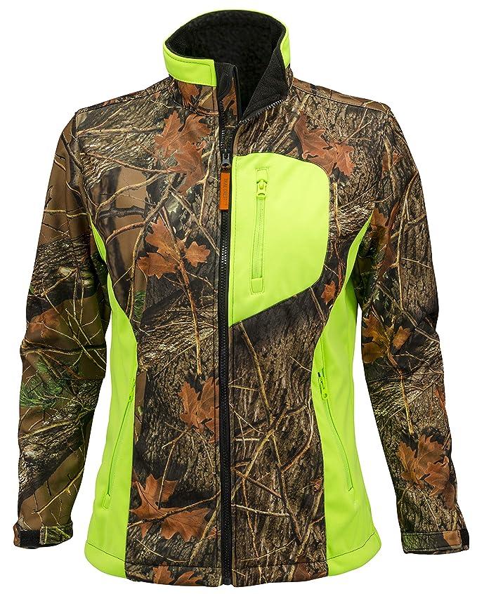 960d1d245c680 TrailCrest Women's Neon Forest Camo Waterproof, Windproof Soft Shell Jacket  at Amazon Women's Coats Shop