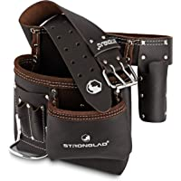 STRONGLAD 5-Pocket Single Side Brown Oil Tanned Leather Tool Belt Pouch Work/Apron for Carpenter and Builders. Toolbelt…