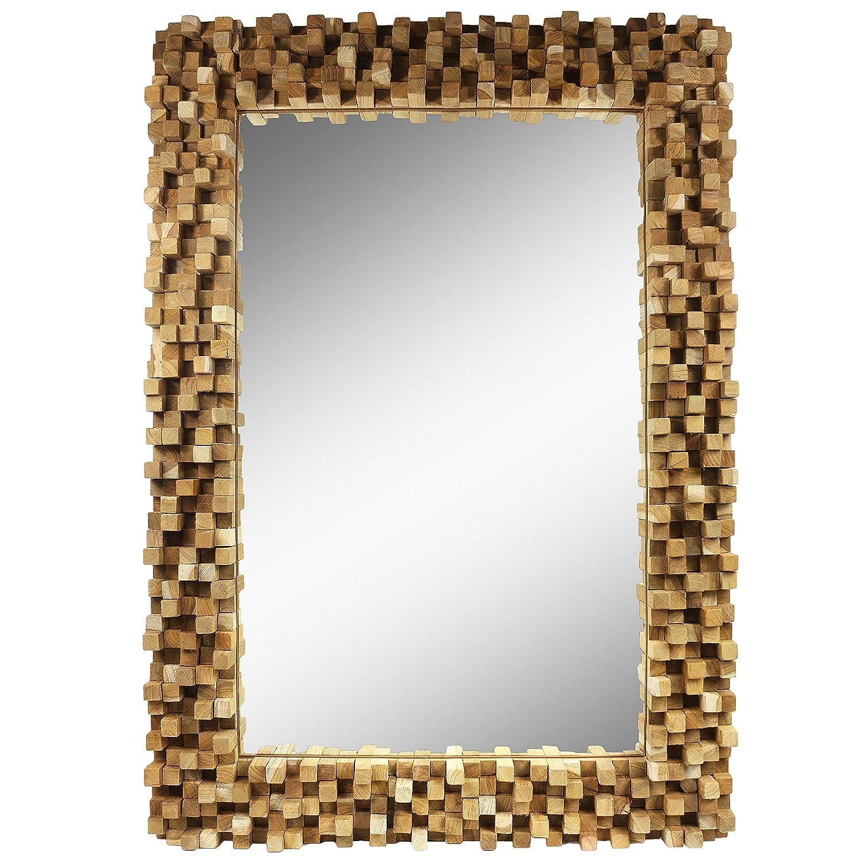 Amazon.de: Spiegel Rahmen aus Holzstücken Thailand Massiv Holzrahmen ...