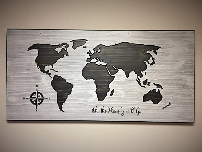 Amazon nursery decor art wood wall art wooden map world map nursery decor art wood wall art wooden map world map with quote gumiabroncs Gallery