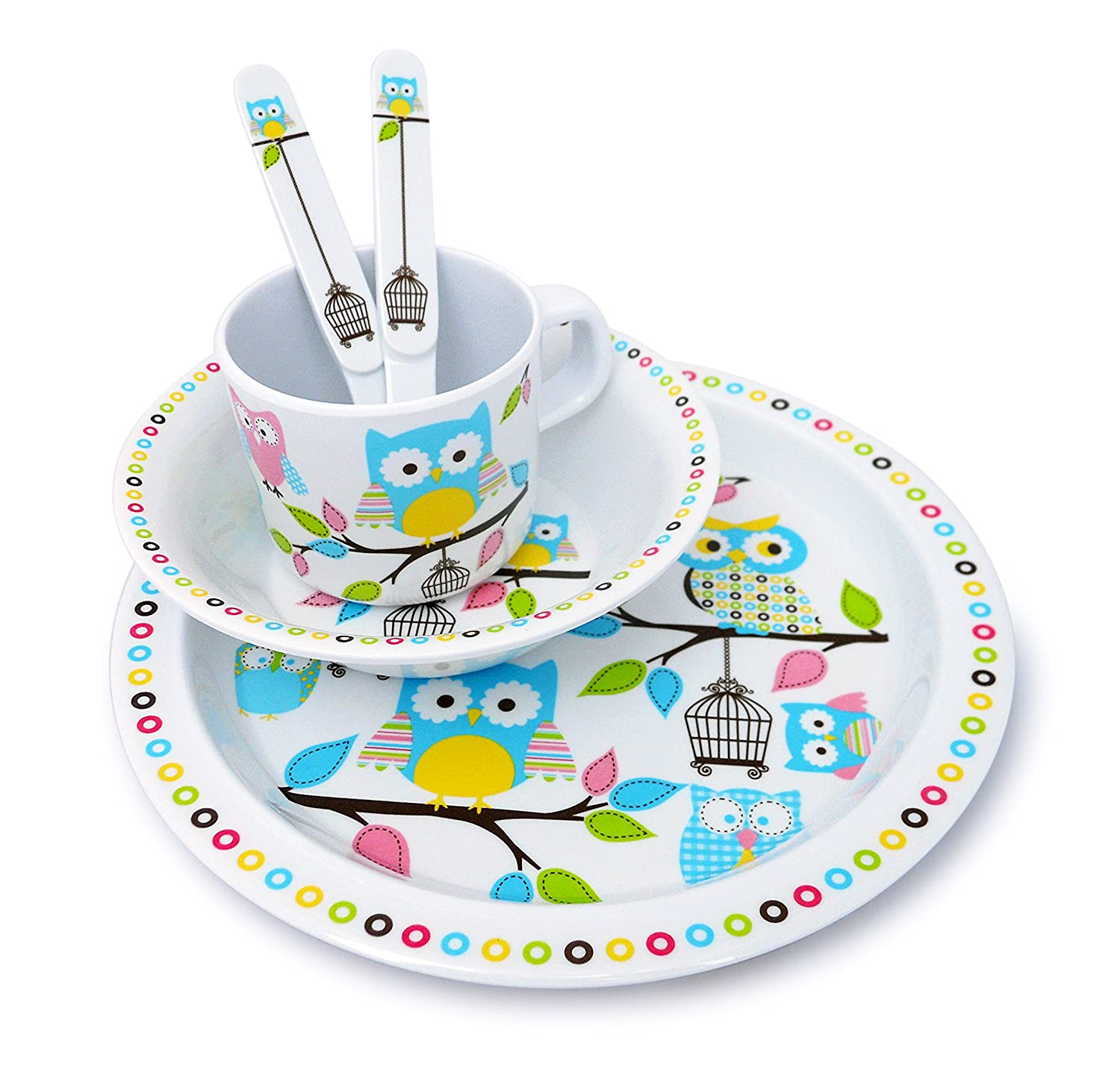 Culina Kids Plate and Bowl Melamine Dinnerware - Owl. Set of 5