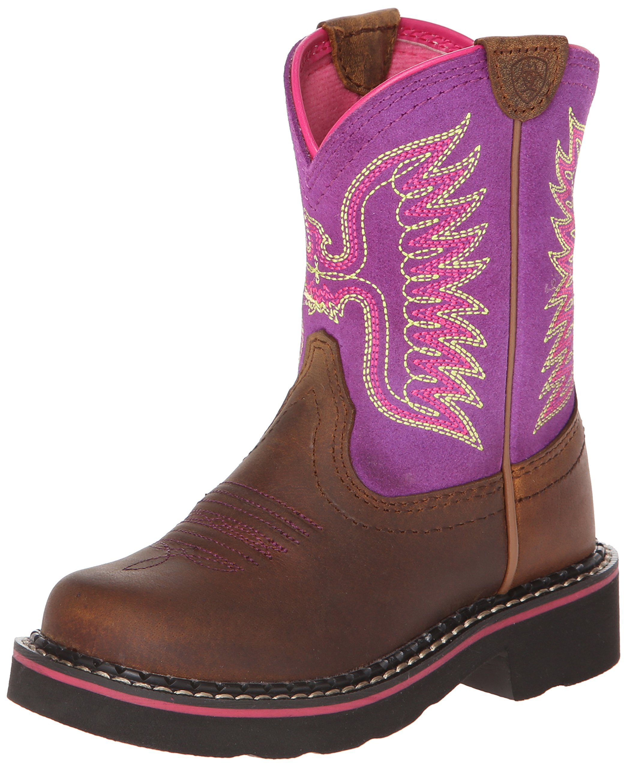 Kids' Fatbaby Thunderbird Western Cowboy Boot, Powder Brown/Amethyst, 12.5 M US Little Kid by ARIAT (Image #1)