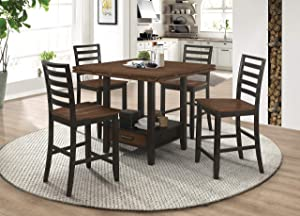 Coaster Home Furnishings Sanford 5-Piece Round Dining Cinnamon and Espresso Counter Height Set, Table
