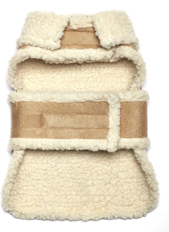 Pistachio Pet Abrigo de antelina y lana de oveja falsos para perro