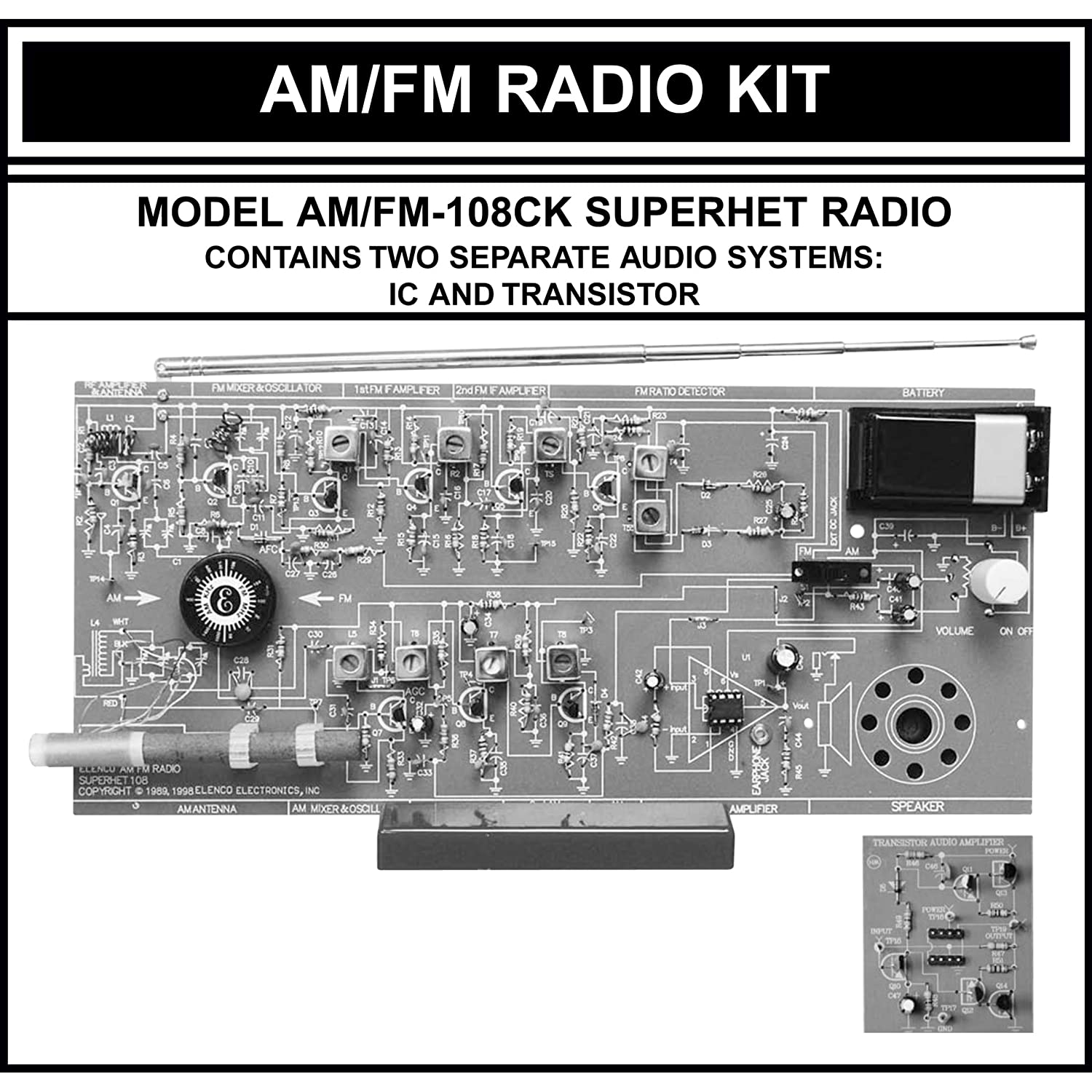 Amazon.com: Elenco AM/FM Radio Kit (Combines ICs & Transistors): Toys &  Games