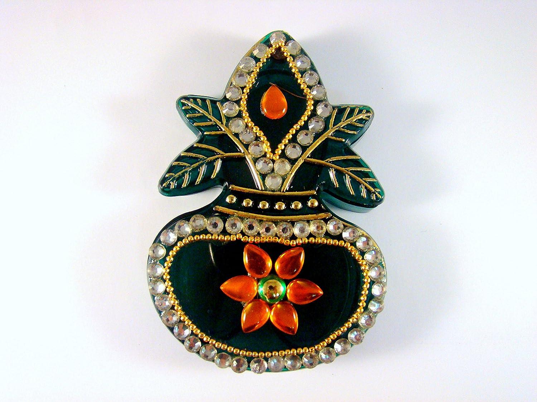 Amazon com: Sarvam Kalash Shaped Kankavati Kanku Chawal Sindoor Dani