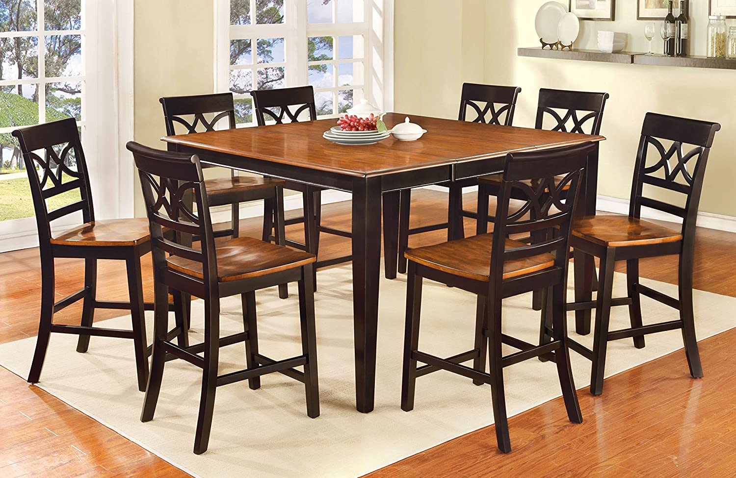Amazon.com - Furniture of America Cherrine 9-Piece Country Style Pub Dining Set Oak/Black - Table u0026 Chair Sets : pub dining table set - Pezcame.Com