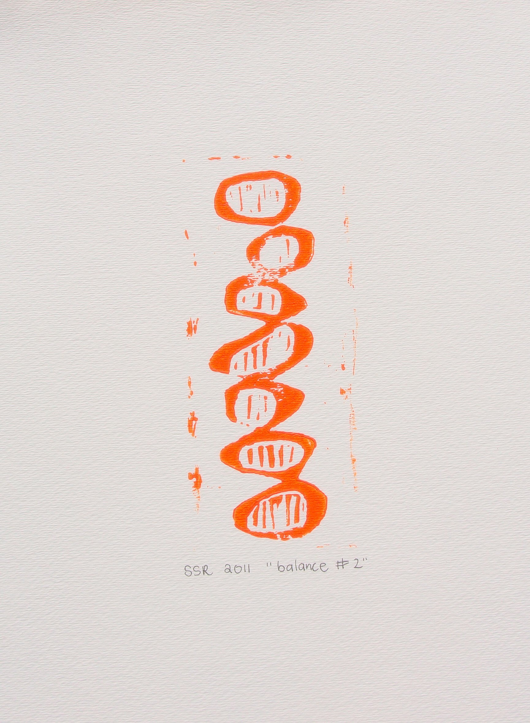 Balancing Circles with Lines Bright Orange by