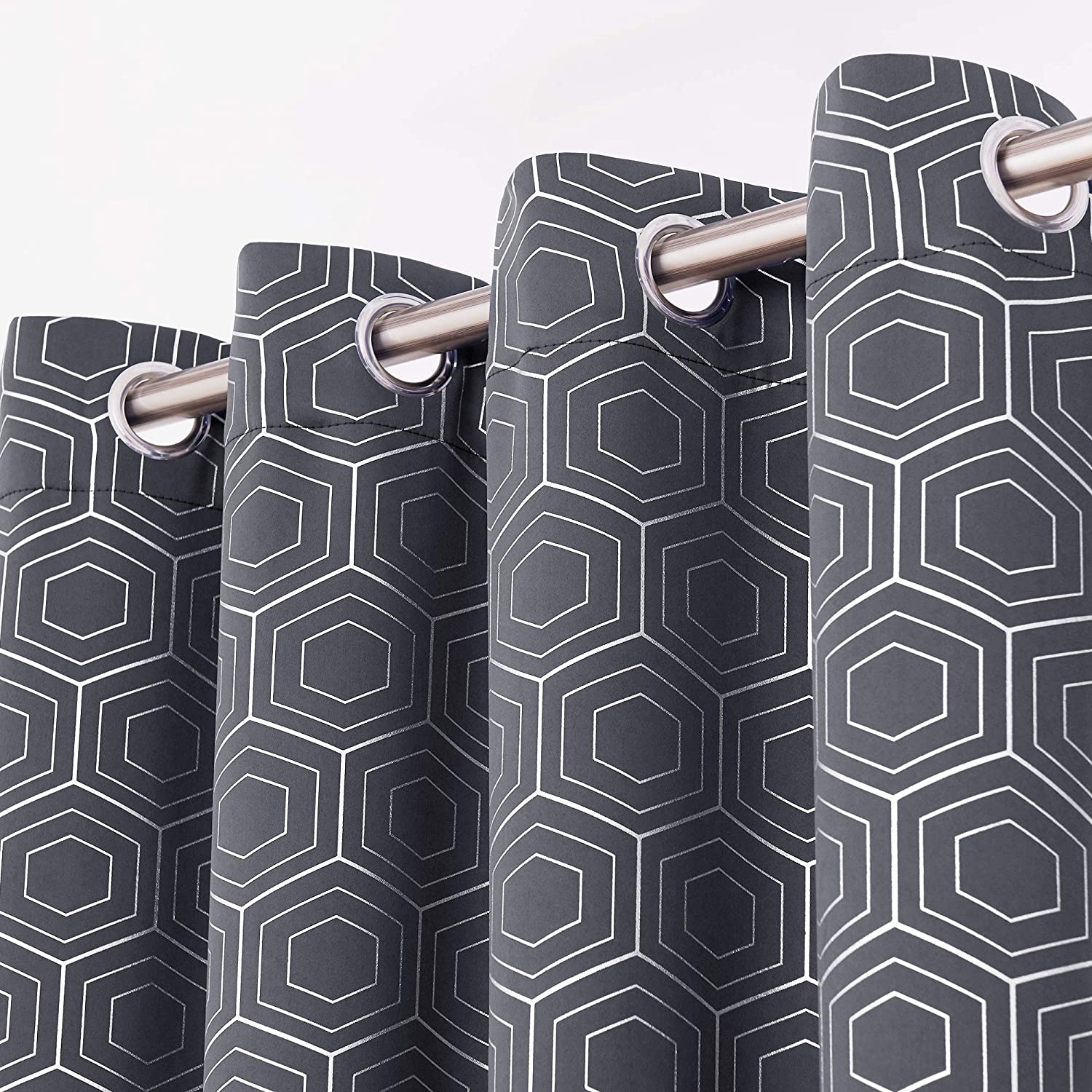 Deconovo Silver Hexagon Geometrical Blackout Curtains Thermal Insulated Heat Blocking Grommet Drapes for Living Room and Kids Room Grey 52x95 Inch 2 Panels
