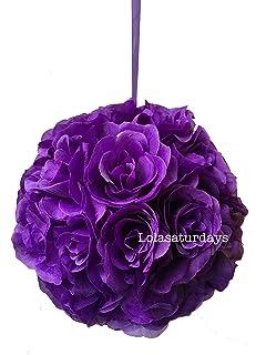 Amazon 12 inches rose kissing ball pack of 4 colors purple lolasaturdays flower kissing balls mightylinksfo