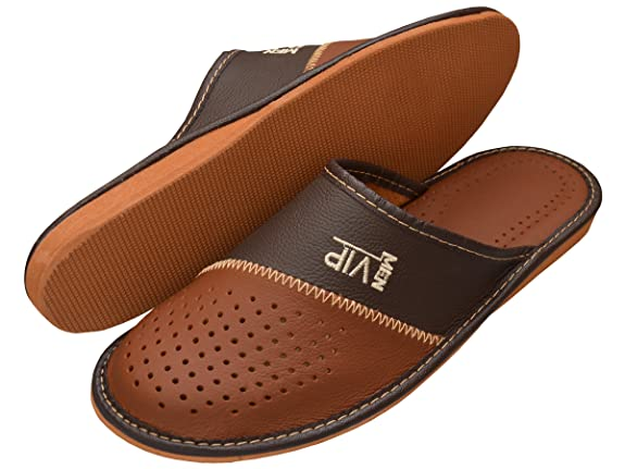 767331599a66 Mens Slippers Men s Slipper Men House Shoes Leather Home Mule VIP   Amazon.co.uk  Shoes   Bags