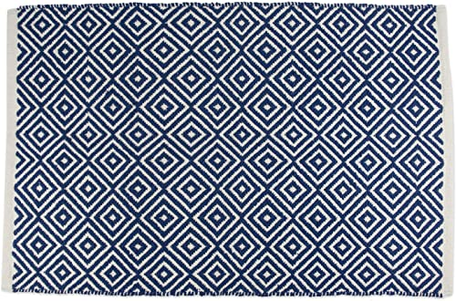 DII Contemporary Reversible Indoor Area Rug Mat, Machine Washable, Handmade from Cotton, Unique For Bedroom, Living Room, Kitchen, Nursery and more, 2 x 3 – Nautical Blue Diamond Color may vary