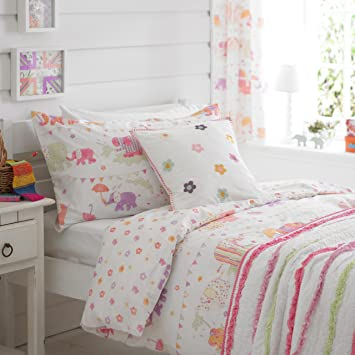 Girls Pink Elephants Lined Bedroom Curtains 66