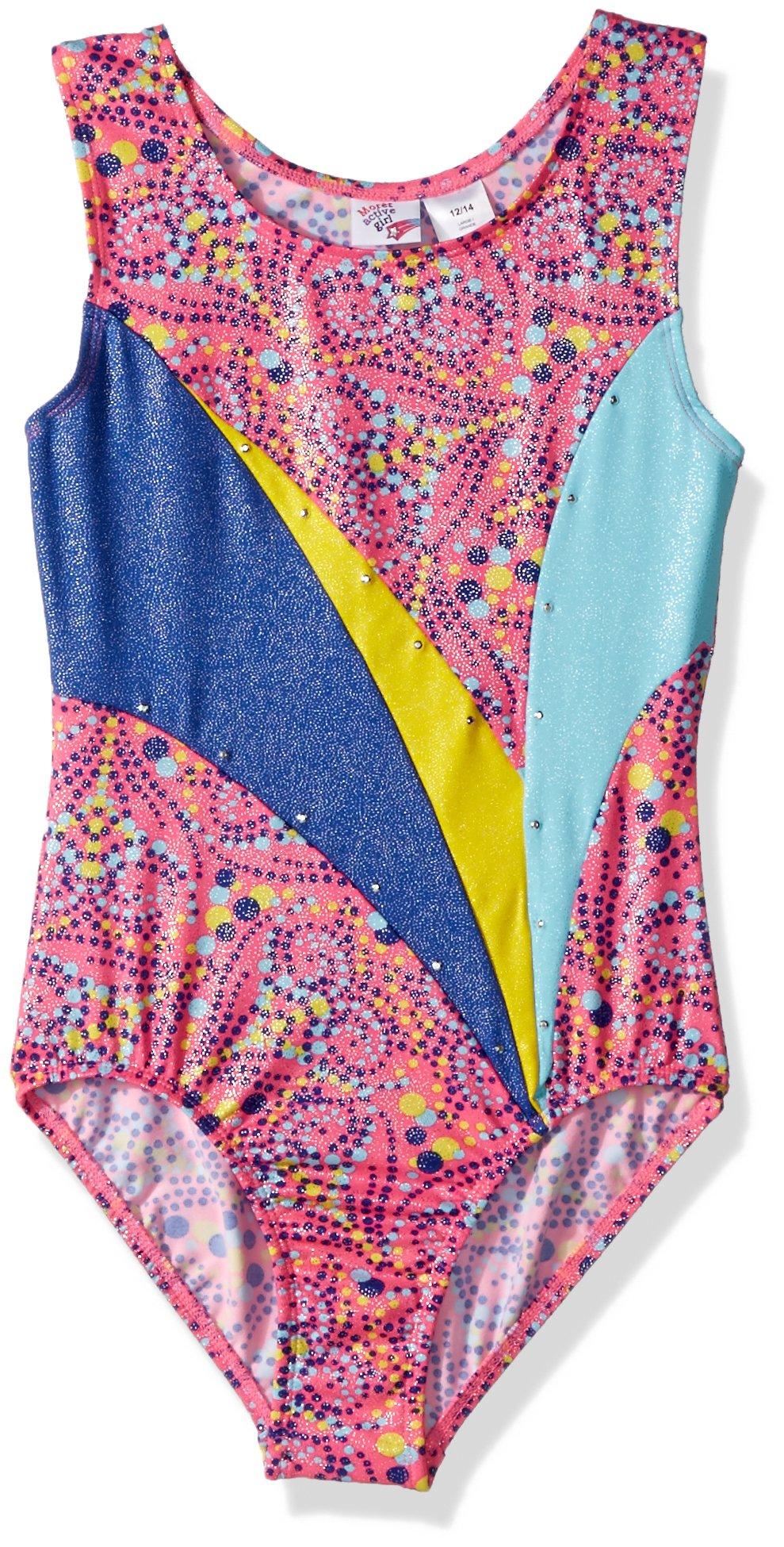 Jacques Moret Big Girls' Fun Gymnastics Leotard, Dotted Hearts Printed, Large