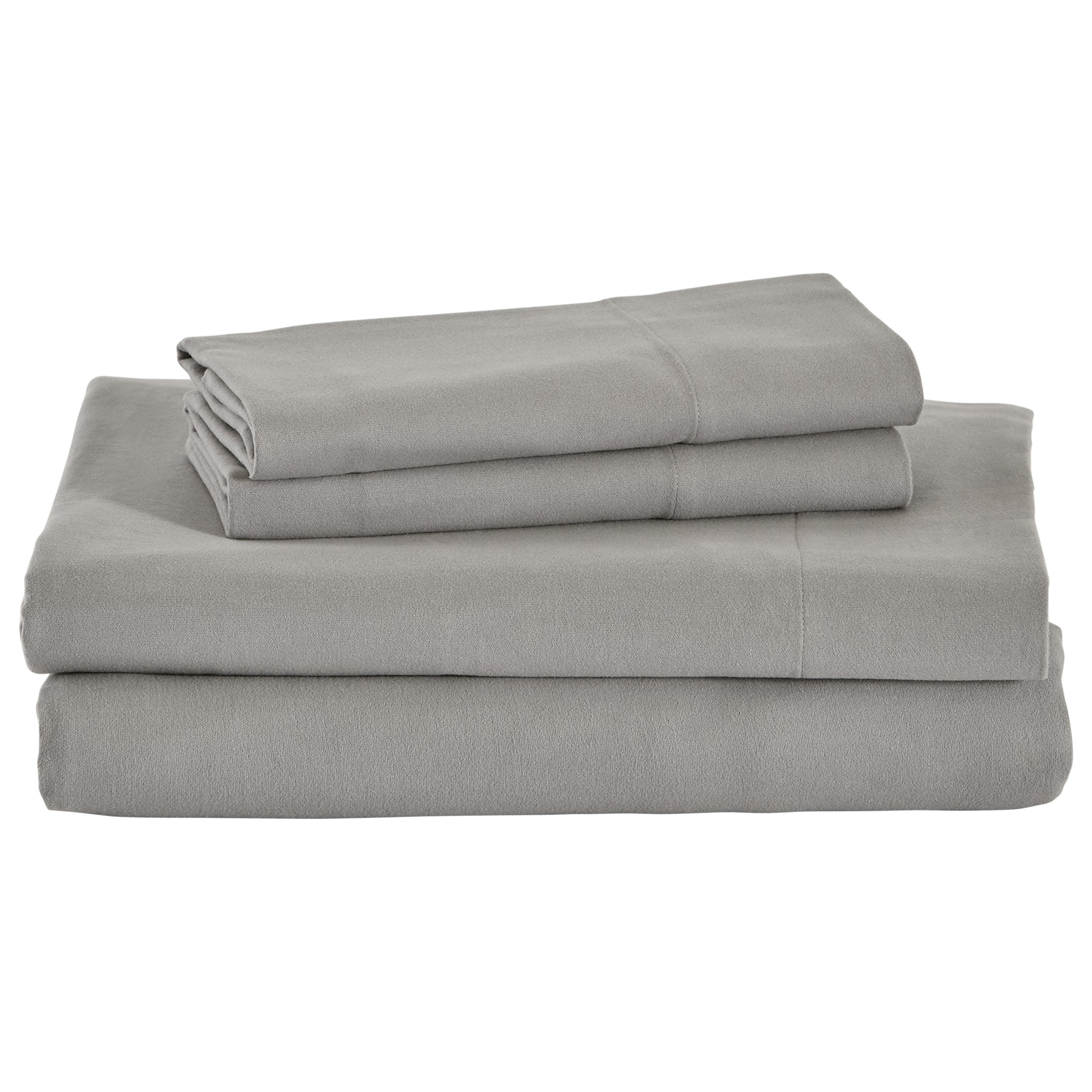 Stone & Beam Rustic Solid 100% Cotton Flannel Sheet Set, Soft and Easy Care, Queen, Heather