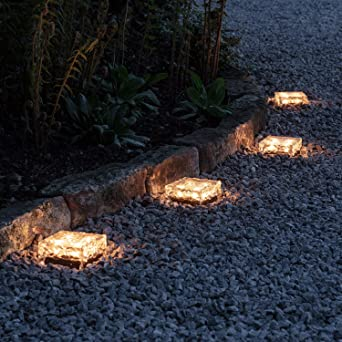 8er Set Led Solar Glas Pflastersteine Wegbeleuchtung Warmweiß Groß Lights4fun