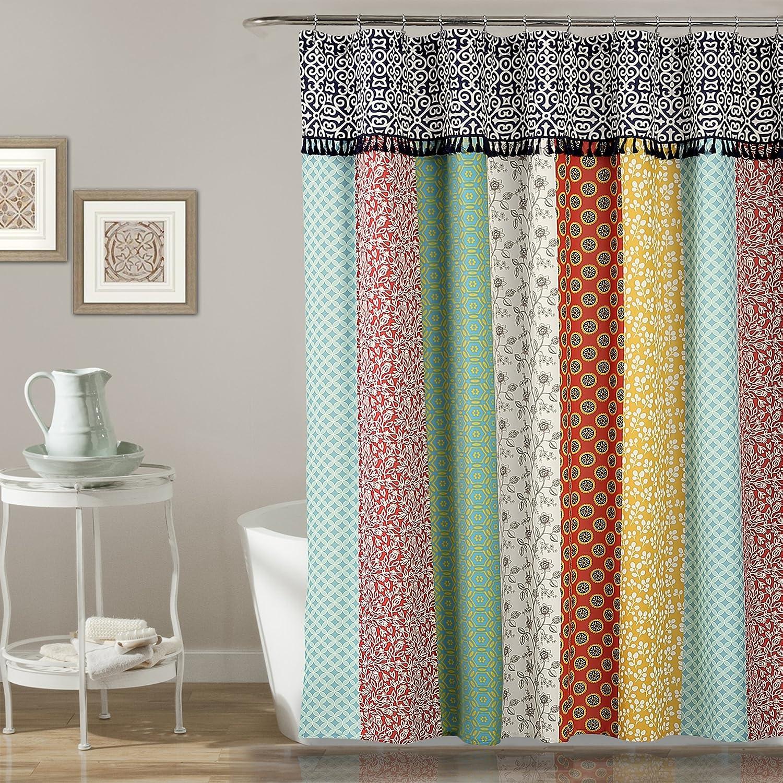 "Lush Decor Boho Patch Shower Curtain-Fabric Bohemian Colorful Print Vertical Stripe Design with Tassels, 72"" x 72"", Multicolor, 70"" x 72"", Orange/Navy"