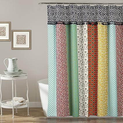 orange and teal shower curtain. Lush Decor D Cor Boho Patch Shower Curtain  70 Quot X 72 Orange Amazon Com