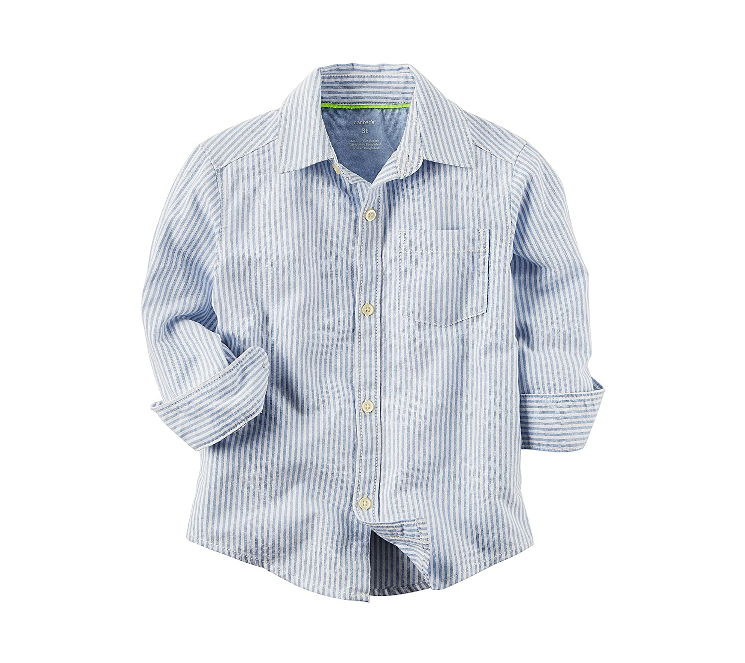 Carters Boys 2T-8 Striped Long Sleeve Woven Top