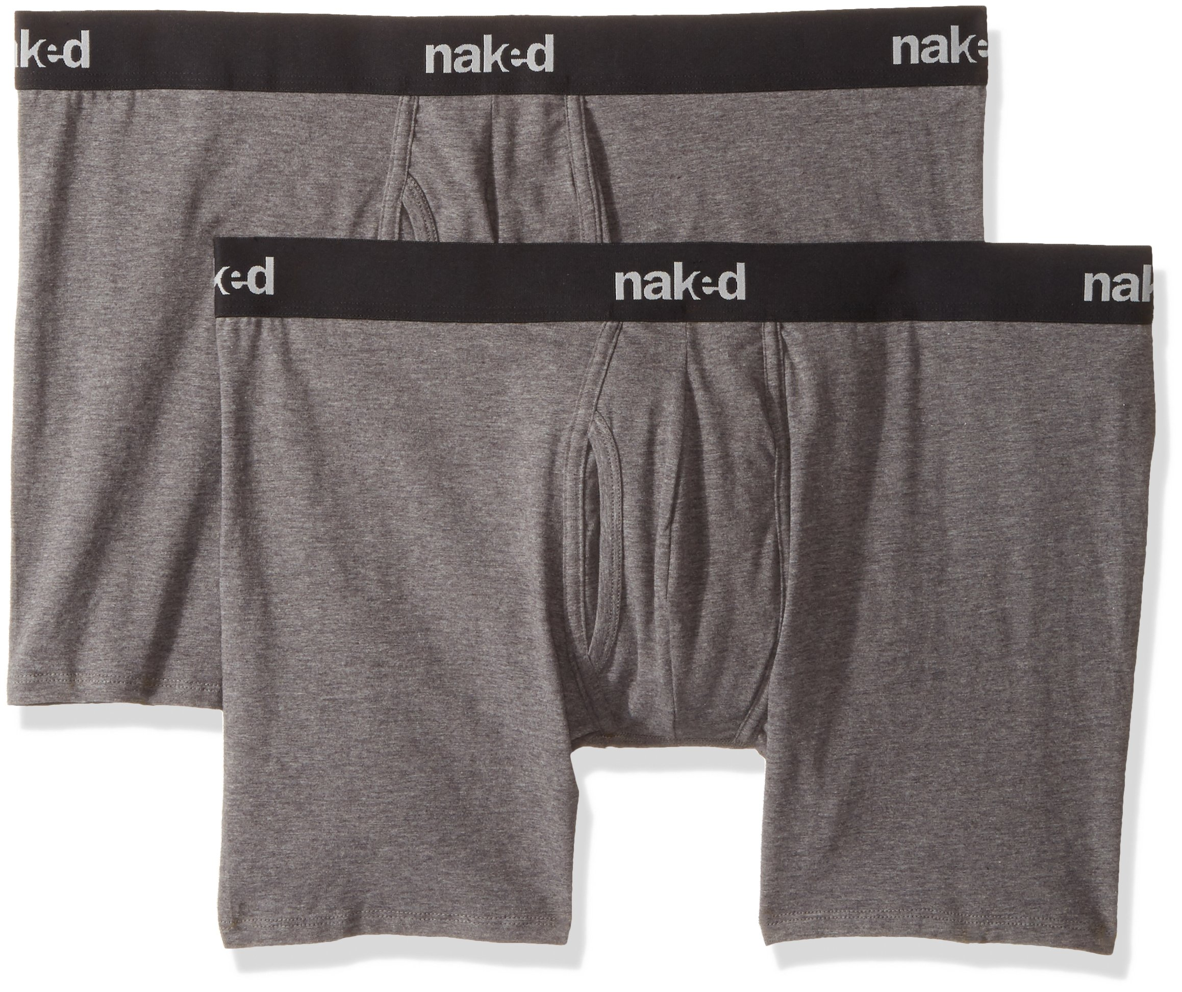 Naked Men's Stretch Cotton Boxer Briefs 2 Pack, Dark Grey Heather, Large by Naked