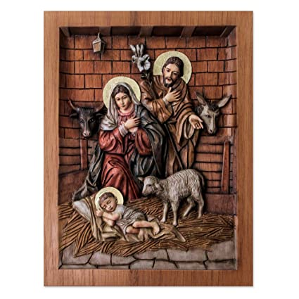 Amazon.com: novica 229850 stable in bethlehem cedar relief panel