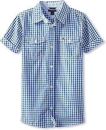 Tommy Hilfiger Niños - Manga corta Camisa de botones - Azul ...