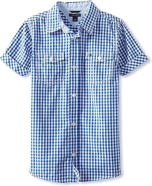 Tommy Hilfiger Niños - Manga corta Camisa de botones - Azul - 24 meses: Amazon.es: Ropa y accesorios