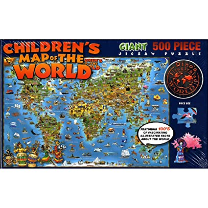 Amazon childrens map of the world giant 500 piece jigsaw childrens map of the world giant 500 piece jigsaw puzzle gumiabroncs Image collections