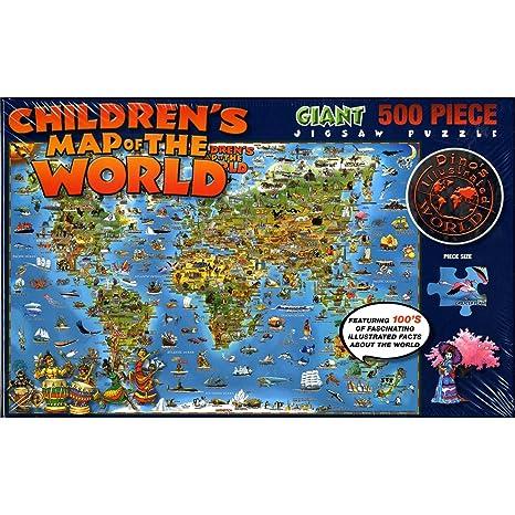 Amazon.com: Children\'s Map of the World Giant 500 Piece Jigsaw ...
