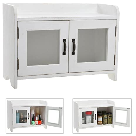 Decorative Shabby Chic White Wood Mini Kitchen Cupboard / Spice Cabinet /  Bathroom Storage Cabinet W